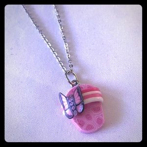 Jewelry - Pink Flip Flop Silver Necklace